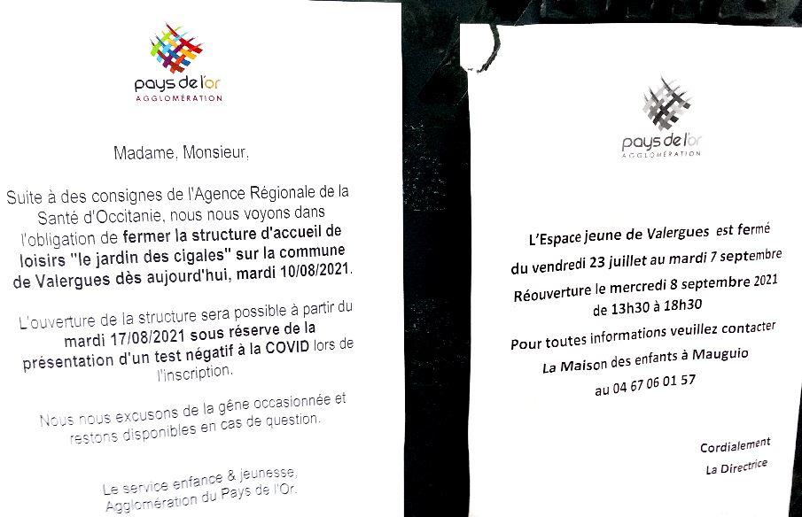 """Le centre de loisirs """"le jardin des cigales"""" du pays de l'Or situé à Valergues est fermé depuis hier 10 août. Il devrait rouvrir le 17 août. Les inscriptions se feront sur présentation d'un test covid négatif"""